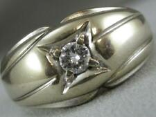 ANTIQUE ROUND DIAMOND SOLITAIRE 14KT WHITE GOLD MENS BAND WEDDING RING #L1325.2