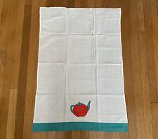 New listing Handmade Teapot Applique Tea Towel Cotton Kitchen Hand Towel Cloth Green Border