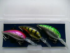 SET OF 3 DEEP DIVING PIKE PLUGS / LURES INC. FREE TACKLE BOX *FANTASTIC VALUE