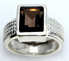 Emerald cut Smoky Quartz Sterling Silver Ring NEW 925 Rings Sizes 5½, L to 9½, T