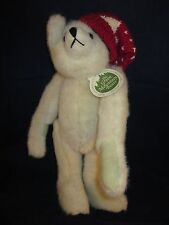 """GREEN MOUNTAIN Mary Meyer Teddy Bear 14"""" Cream / Light Tan Red Hat NEW with TAG"""