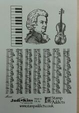 Unmounted Rubber Stamps Music Keyboard Violin by Judikins