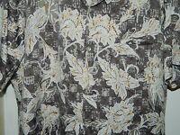 VTG Tori Richard Made in Hawaii Men Beige Floral Mens Hawaiian Shirt Size L - XL