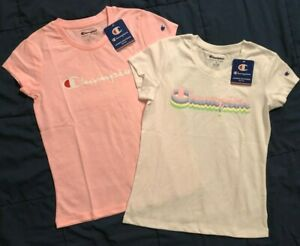 NWT ($32.00) (2) GIRLS SIZE MEDIUM CHAMPION S/S PINK CANDY & WHITE T-SHIRTS