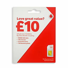 £5 CREDIT - Vodafone SIM Card 4G 3-in-1 SIM, Standard Micro Nano, Pay as you go