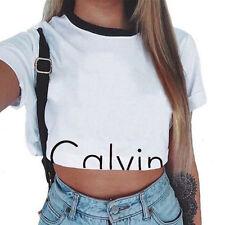 Summer Women Casual Tank Top Blouse Slim Printed Crop Tops T-Shirt Sportwear