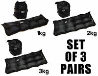 SET OF 3 FXR SPORTS WRIST ANKLE WEIGHTS RESISTANCE STRENGTH TRAINING GYM STRAPS