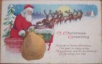 1920 Christmas Postcard: Santa Claus & Sack of Toys in the Snow