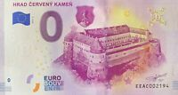 BILLET 0  EURO HRAD CERVENY KAMEN   SLOVAQUIE  2019 NUMERO DIVERS