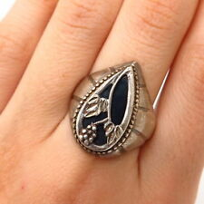 925 Sterling Silver Vintage Black Onyx Gemstone Grape & Leaf Design Ring Size 10