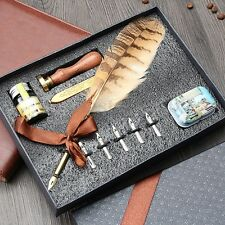Owl Feather Metal Nibbed Pen Dip Writing Quill With Ink Steel Tips Gift Box Set