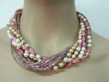Collana stile Liberty copia Anni 1925-1935 perline perle rosa vintage OMA19