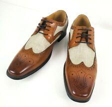 Stacy Adams Mens Kemper Linen Brogue Oxford Shoes 25191-282 Beige Size 10.5 M