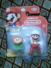 NEW World of Nintendo Super Mario Brothers Figure Fire Mario BONUS Fire Flower