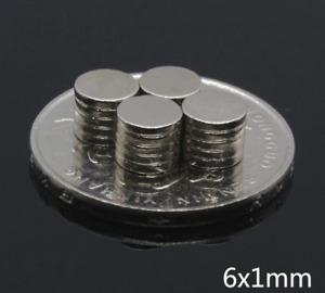 100 X Circolare Disco Utilità Magneti 6mm x 1mm