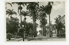 Bahia RPPC Texaco Gas Pump—Parque de Nazareth—Trolley Track BRAZIL Antique Photo