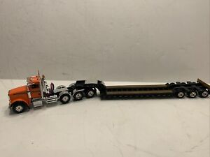 Peterbilt 367 Orange w/ tri axle lowboy trailer First Gear 1:50 scale