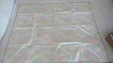 "Vintage Homemade Tablecloth Pastel Stripe Squares,Blanket Stitch 33""X40"""