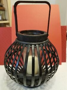 """BEAUTIFUL BLACK LANTERN HOLDING GLASS PIECE FOR CANDLE 10"""" TALL home decor"""