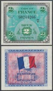 France - WWII Allied Military Currency, 2 Francs, 1944, UNC, P-114