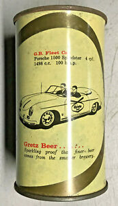 Tough *RED Letter* Porsche 1500 Gretz Speedster G.B. Fleet Car Flat Top Beer Can