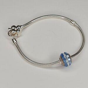 Lovelinks 20cm Butterfly Clasp 925 Sterling Silver Bracelet & Blue Murano Glass