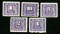 Canada Stamps # J6-10 VF OG NH Scott Value $312.50