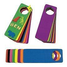 """3 Foam Door Hangers Multi Color Kid Crafts Fun 9"""" tall"""