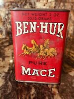 Vintage 1920s Ben-Hur Mace Spice Tin Advertising Chariot 2 oz