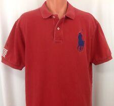 POLO by RALPH LAUREN Red Short Sleeve Polo Shirt Men's XL Flag & BIG Blue Pony