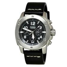 New Fossil Modern Machine Chronograph Black Leather Watch 45mm FS4928 $155