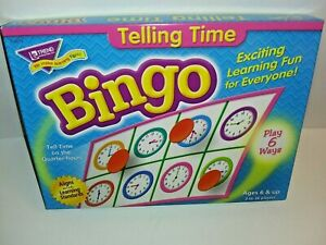 Telling Time Bingo Ages 6+ 3-36 Players Trend Classroom Educational Game