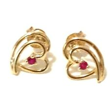 Lovely stud earrings: Real 9K Yellow Gold YG with 2pcs Genuine Ruby Heart Shape