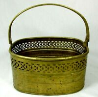 Vintage Brass Ornate Textured Design Rounded Square Planter Basket With Handle