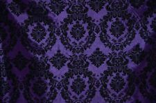 PURPLE TAFFETA DAMASK VELVET FLOCKED DRESS HOME DECOR APPAREL CURTAINS THE YARD