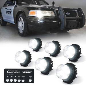 Xprite 6x White LED Hideaway Strobe Lights Set for 12V Vehicles Light Heads