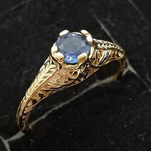 Antique Filigree .45ctw Blue Sapphire 14K Yellow Gold 925 Silver Ring Size 4.5