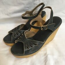 Vintage 70s Cherokee of California Platform Sandals Shoes Wedge Blue Size 7