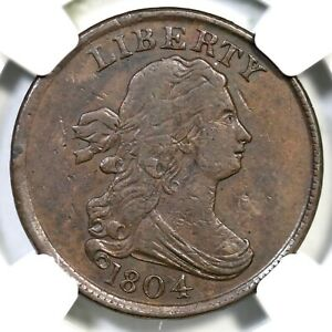 1804 C-11 R-3 NGC VF 35 Plain 4 w/ Stems Draped Bust Half Cent Coin 1/2c