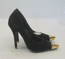 """Black 4"""" Stiletto High Heel Gold Pointy Toe Sexy Shoes Size 10"""