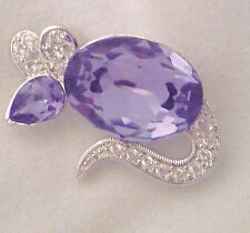 Vintage Fifth Avenue Jewelry Co signed Butler jelly belly mouse brooch purple