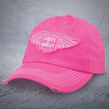 "Harley Davidson ""Ladies of Harley"" HOG Ball cap NEW NICE NWT Distressed Pink Cap"