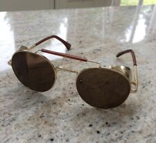 Blinker Shield Gold / Brown Fold In Side Aviator Steampunk Sunglasses Brand New