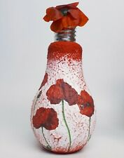 Poppy decoupage bulb vase, artisan handmade home decor, table decor, centerpiece