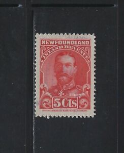 NEWFOUNDLAND - #NFR16 - 5c KING GEORGE V INLAND REVENUE USED STAMP PERF 12