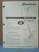 Simplicity Tractor # 416 Lift Lever Kit. Assembly, Owners, Parts Manual Original