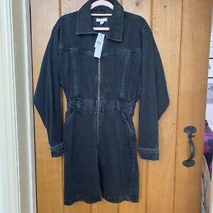 Topshop Black Washed Zip Front size 12 Denim Dress - NEW!