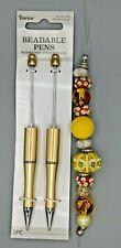 3 pc Beaded Pen Kit, 2 Gold Plastic pens, 1 Strand Large Hole Beads, B-A498