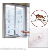 DIY Fliegengitter Insektenschutz Fenster Fliegenetz 130x150cm mit 5M Kleber Weiß