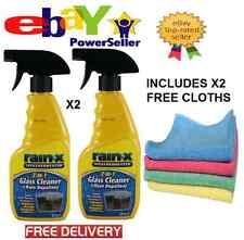 2X RAIN X Windscreen 2 in 1 Glass Cleaner & Rain Repellent Inc X2 CLOTHS *NEW*